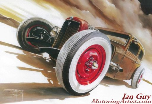 Red Wheels and White Walls by MotoringArtist