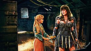 Xena and Gabrielle by aaronwty