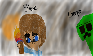Steve and Creeper by Riyana2