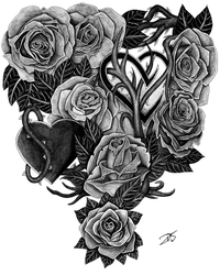 Roses and Hearts tattoo design by davidsteeleartworks
