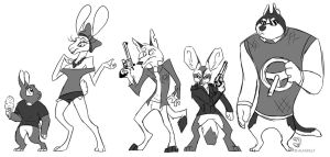 Car Chase Character Designs by AlfaFilly