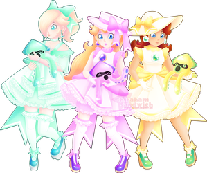 Blooper Surfing Safari [Rosalina, Peach, Daisy] by Ghiraham-Sandwich
