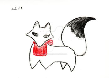 Ink tail Inari kitsune by KittyrinnAiko