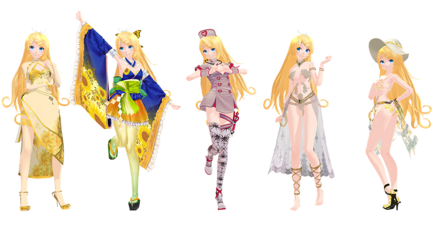 MMD Model Pack: TDA Future Rin Pack by K-Manoc1