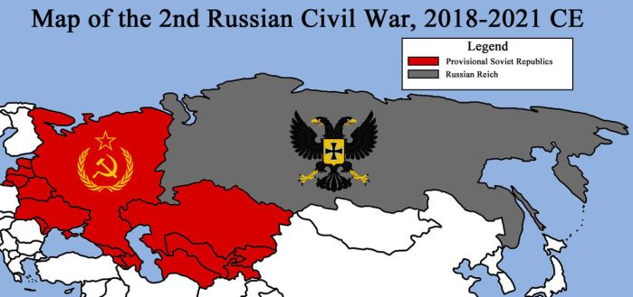 Map of the 2nd Russian Civil War, 2018-2021 CE by RedRich1917