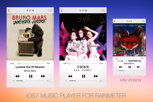 iOS7 Music Player Clone For Rainmeter by gx3541
