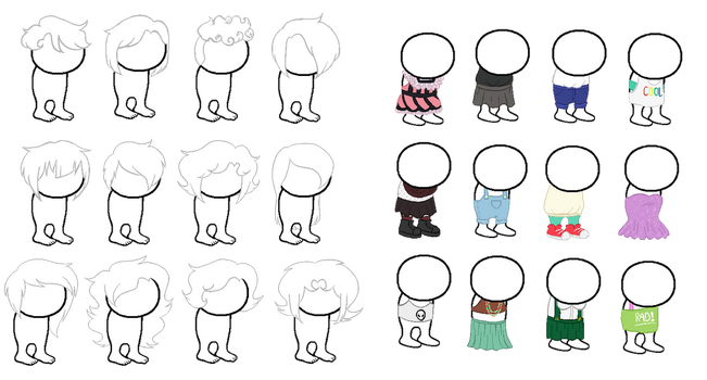 Homestuck Sprite Bases: clothes and hair by caecii