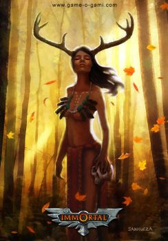 Immortal - Deer Woman - card game illustration by TheArtOfSanhueza