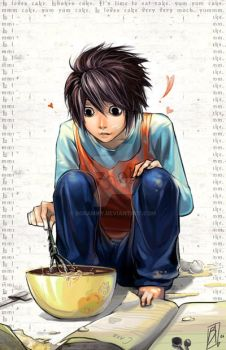 Death Note - L loves cake by borammy