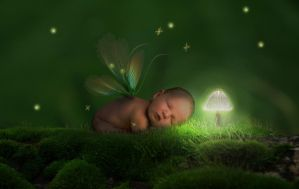 Mushroom Light Baby Fairy by BryshaB