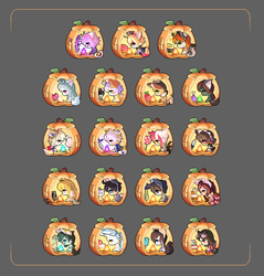 Fall Pumpkin Pixel Icons by Cuney
