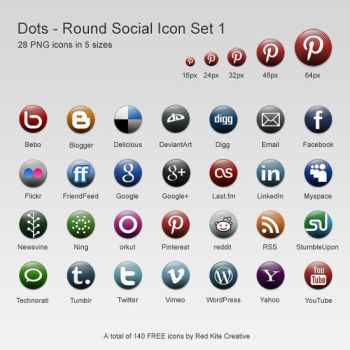 Free Round Dots Social Icons by coloradodev