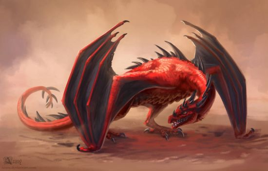 Red dragon by Azany