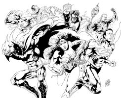 Justice League pinup - pencils and inks by me by geraldohsborges