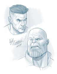 Cable and Thanos Head Sketches by kpetchock