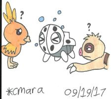 Aron, Torchic and Slakoth
