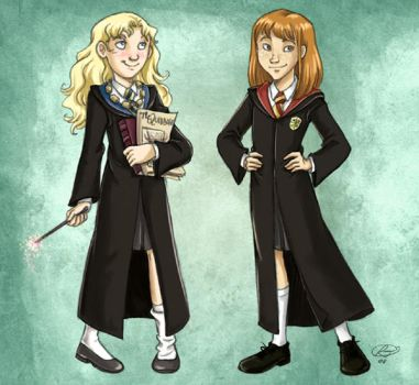 1st year Luna and Ginny by roby-boh