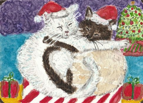 Snuggles cats  Christmas holiday watercolor  aceo by tulipteardrops