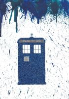 Doctor Who Tardis Crayon and Glitter Art Picture by LiviaAlexandra