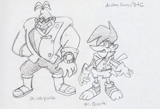 Sonic: Dr. Warpnik and Dr. Quark concepts by BlueIke