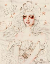 The Moon 78 Tarot Astral Line Art by EnysGuerrero
