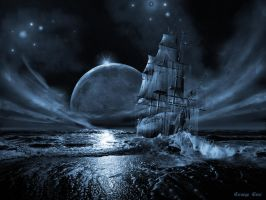 Ghost ship series: Full moon rising by artsgr1e
