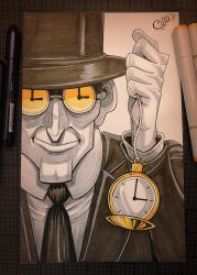 The Clock King - Inktober Day 19 by Curly-Artist