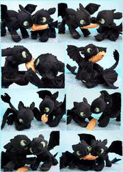 Battle of the Toothless - handmade plushies by Piquipauparro