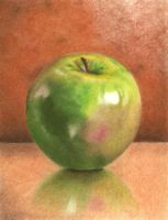 Green Apple Colored Pencil Drawing by itsayesha