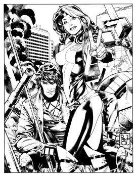 Rogue and Gambit comission by PauloSiqueira