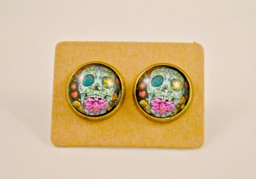 Blue Day of the Dead Sugar Skull Stud Earrings by AshsMysticEmporium