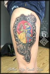 Beauty and the Beast Hand Mirror Tattoo by Enoki by enokisoju