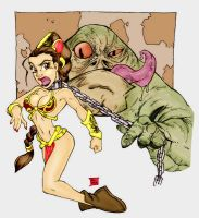 Leia and Jabba by Bill Maus by Mythical-Mommy