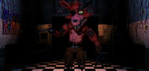 Fnaf/Sfm/] Withered Foxy in office by Kameron-Haru