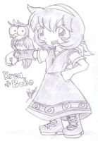 Krea-tan with Bubo by foresteronly