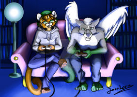 Commission: Game night by JavaLeen