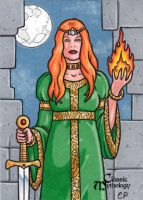 Brigid Sketch Card - Classic Mythology by ElainePerna