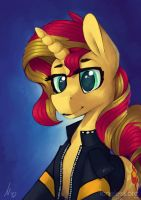 Sunset Shimmer Ponetrait by Loneless-art