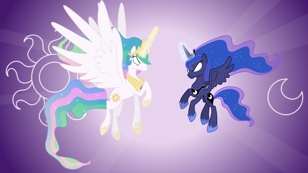 Celestia and Luna Attacking (Wallpapers) by 90Sigma