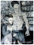 Frankenstein and his bride by Hollow-Moon-Art