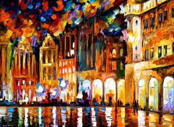 Brussels - Grande Place by Leonid Afremov by Leonidafremov