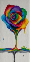 SOLD - Rainbow Rose Spill by Samishii-Kami
