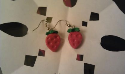 Chibi Strawberry Earrings by ZombieCharms