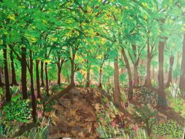 Summer Forest - Acrylic with painting knife, 30x40 by orenjisakura87