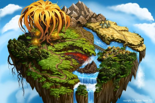Flying Island Map I by Saarl