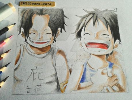 Ace and Luffy by exoofink311