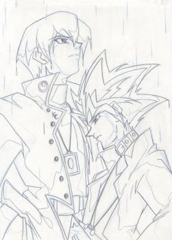 Kaiba and Yami in the Rain... by starxade