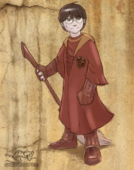 Harry ready for some Quidditch by Sketchviper