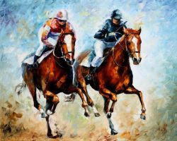 Close Race by Leonid Afremov by Leonidafremov