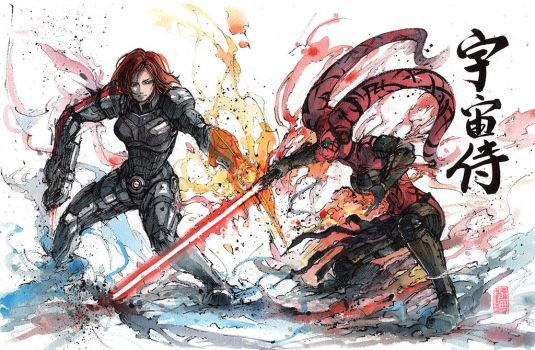 Commander Shepard vs Darth Talon with calligraphy by MyCKs